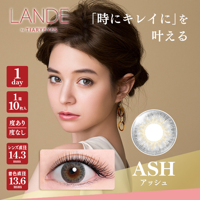 LANDE by TIARYEYES(ランデ by ティアリーアイズ) 10枚入 アッシュ 【メール便送料無料】