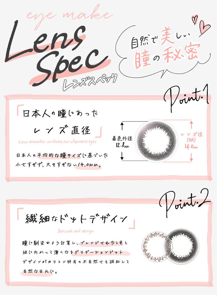 日本人の瞳にあったレンズ直径、繊細なドットデザイン