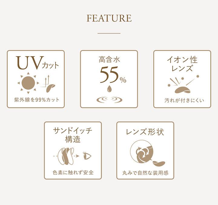 UVカット 高含水率55% イオン性レンズ サンドイッチ構造