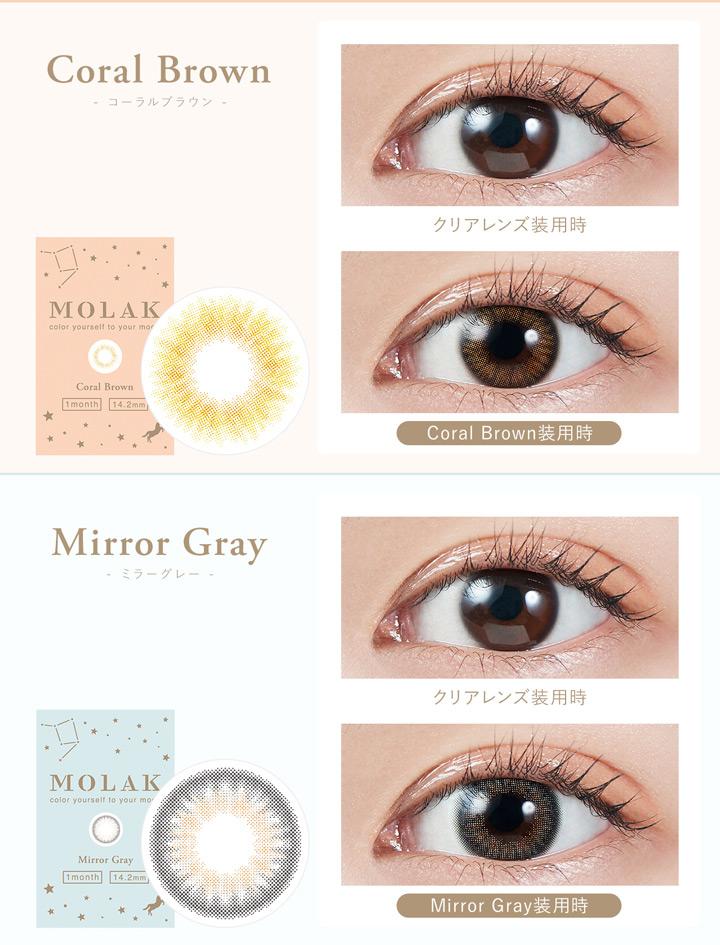 コーラルブラウン coral Brown、ミラーグレー Mirror Gray
