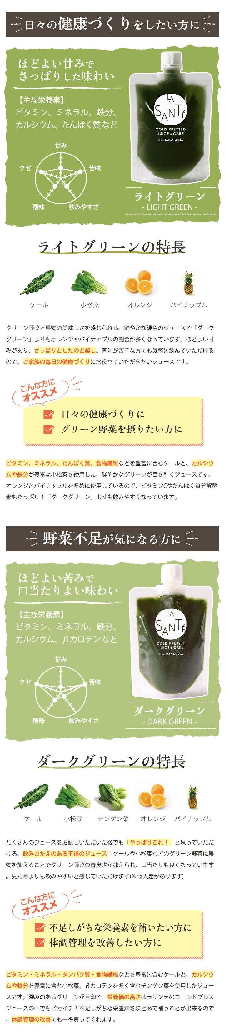 宝塚ラサンテ コールドプレスジュース ライトグリーン ダークグリーン