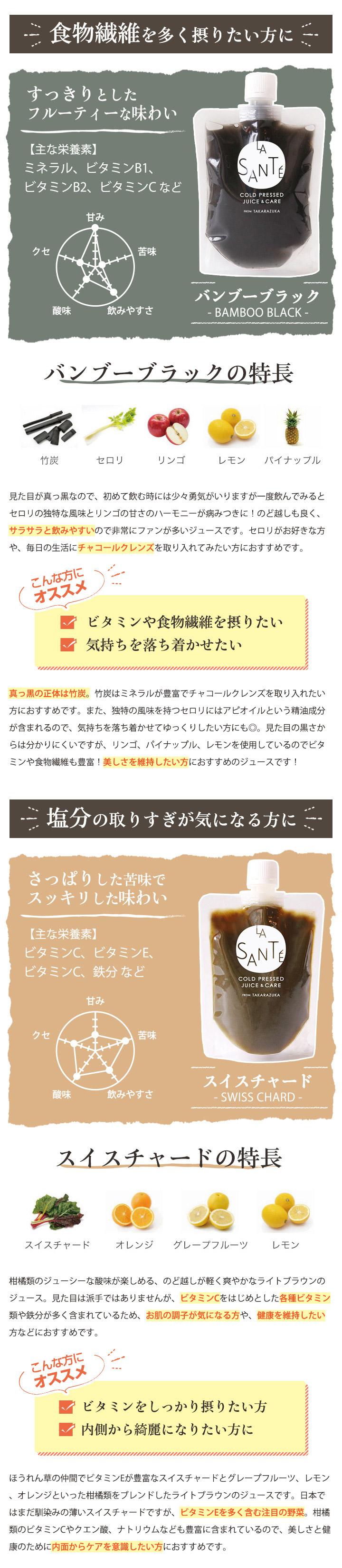 宝塚ラサンテ コールドプレスジュース バンブーブラック スイスチャード